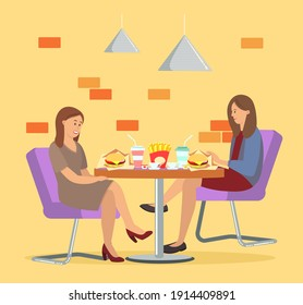 Characters eating fast food together. People sitting with burgers and cola in public catering. Girls spend time together and communicate in a cafe. Female friends are eating junk food outside