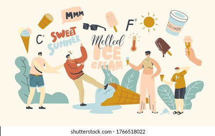 Characters Eating Melted Ice Cream. Summer Time Food, Sweet Dessert, Cold Meal. Adults and Kids Eat Different Types of Icecream Popsicle, Waffle Cone, Creme Brulee. Linear People Vector Illustration