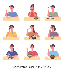 characters eating various food. flat design style vector graphic illustration set
