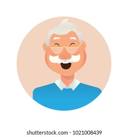 Characters emotions. Vector avatar for business icons. Happy and laughing old men character vector illustration. Grandfather character -stock vector