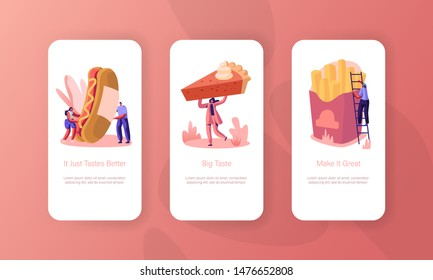 Characters and Fast Food Mobile App Page Onboard Screen Set. People Eat Huge Hot Dog with Mustard, French Fries, Pie. Street Junkfood Concept for Website or Web Page Cartoon Flat Vector Illustration