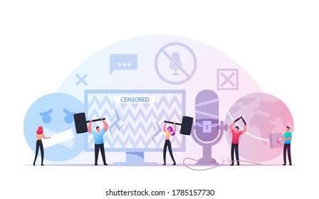 Characters Fighting with Censorship Concept. People Remove Adhesive Tape from Mount, Cut Chains and Censored Info. International Freedom of Speech, Press, Human Right Day. Cartoon Vector Illustration