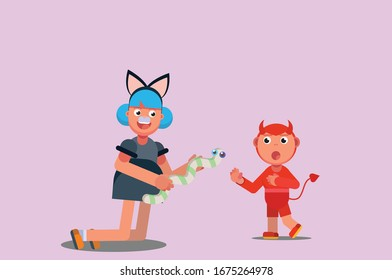 Characters of a girl showing a snake to a little boy wearing a costume, Halloween theme. Simple character vector illustration, this illustration can use as a sticker also.