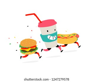 Characters hamburger, hot dog, cocktail cup. Vector. Logos for fast food. Funny illustration of food delivery. Cartoon signs, emblems for the restaurant. Mascots for cafes.