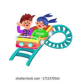 Characters Have Fun Riding Rollercoaster Vector. Boy And Girl Having Happy Laughing And Enjoying Funny Time On Rollercoaster In Amusement Park. Playful Entertainment Flat Cartoon Illustration