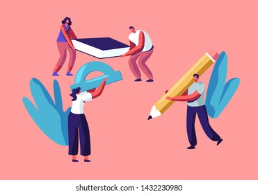 Characters Hold Huge Stationery Accessories for College or University Studying, Tiny Students Holding Pencil, Textbook, Straightedge, Education, Back to School Concept Cartoon Flat Vector Illustration