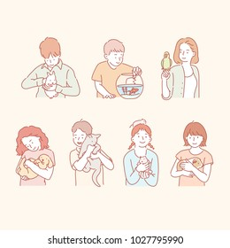 characters holding pets. hand drawn style vector doodle design illustrations.
