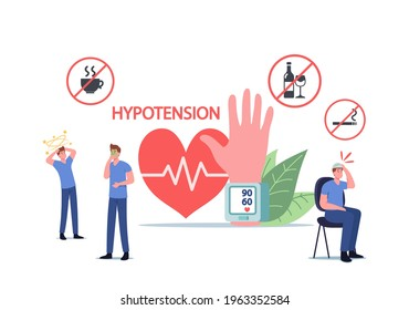 Characters with Hypotension Symptoms Measuring Arterial Blood Pressure, Cardiology Diseases Concept. Tiny People at Huge Tonometer Checking Systolic and Diastolic Pressure. Cartoon Vector Illustration