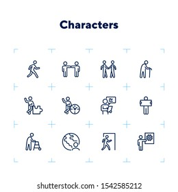 Characters line icon set. Old man, person, world. Sociality concept. Vector illustration can be used for topics like relations, working, communication