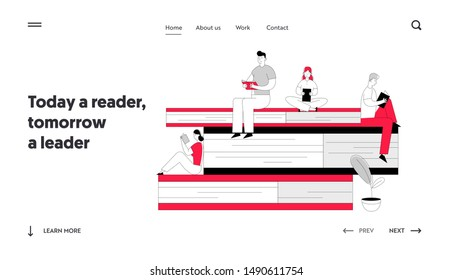 Characters in Literature Storage Website Landing Page. Women and Men Reading in Library Sitting on Huge Pile of Books. Students Prepare for Examination Web Page Banner Cartoon Flat Vector Illustration
