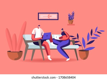 Characters in Medical Masks Sitting on Couch Working Distant on Laptop from Home. Freelance Self-employed Occupation at Covid19 Pandemic Quarantine Self Isolation. Cartoon People Vector Illustration
