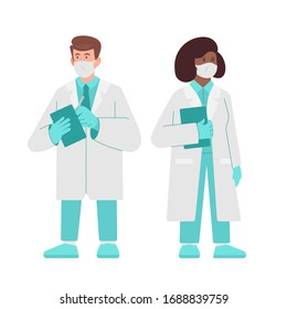 Characters medics, doctor and nurse, isolated on the white background, give consultation. Modern medical workers from hospital. Work in the medicine, save people life and help cured. Flat illustration