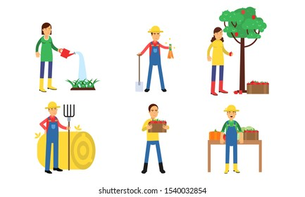 Characters Of Men And Women Are Working On A Farm Or In A Vegetable Garden In Agricultural Concept Illustration Set