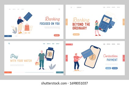 Characters Online Noncontact Payment Landing Page Template Set Buyers Hold Credit Cards and Gadgets. People with Purchases at Cashier Desk, Salesman with Pos Terminal. Cartoon Vector Illustration