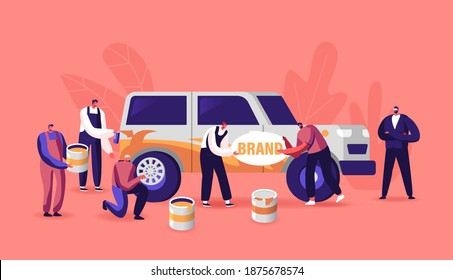 Characters Painting Car Making Airbrushing, Changing Wheels, Automobile Workers with Instruments Doing Vehicle Modification at Auto Service. Car Body Shop, Upgrade. Cartoon People Vector Illustration