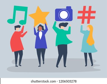 Characters of people holding social media icons illustration