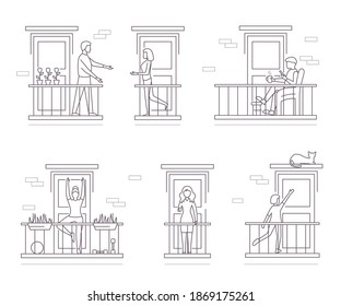 Characters People Stand on Balconies Set Quarantine Concept Contour Linear Style. Vector illustration of Building Facade and Leisure