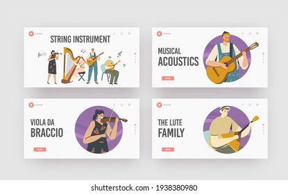 Characters Playing Music Landing Page Template Set. Musicians with String Instruments Performing on Stage with Violin, Harp, Guitar or Balalaika, Artist Performance. Cartoon People Vector Illustration