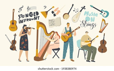 Characters Playing Music, Musicians with Stringed Instruments Performing on Stage with Violin, Harp, Guitar or Balalaika, Artist Orchestra Concert, Folk Performance. Cartoon People Vector Illustration
