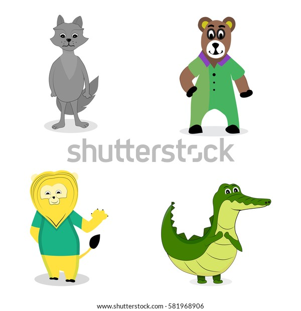 Characters predatory animals. Crocodile and wolf, lion and bear. Vector illustration