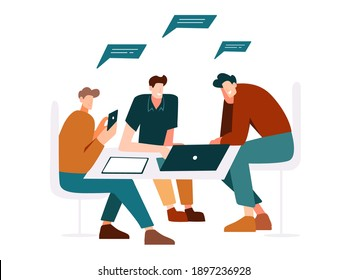 Characters programmers, teamwork in the office behind a laptop and tablet. Discussion of workflows, modern flat design. Man with phone, IT people concept.