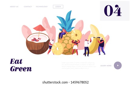 Characters and Ripe Fruits Website Landing Page, Coconut, Pineapple, Banana, Healthy Food, Fortified Nutrition, Summer Fresh Juice Drinks Cocktails, Web Page. Cartoon Flat Vector Illustration, Banner