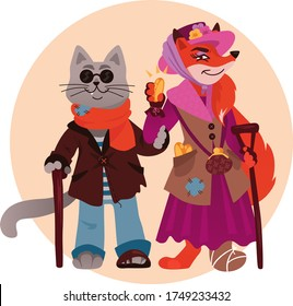 Characters of Russian fairy tales Pinocchio, Golden Key, robbers cat Basilio and fox Alice