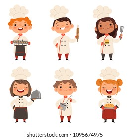 Characters set of children cooks. Cartoon mascots in various dynamic poses. People boy and girl chef in white hat, vector illustration