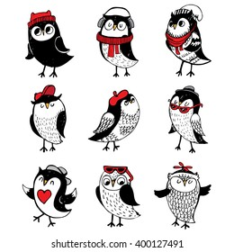 characters set with cute owls