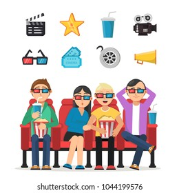 Characters set of funny peoples watching film in cinema. Movie cinema, entertainment film, popcorn and audience. Vector illustration