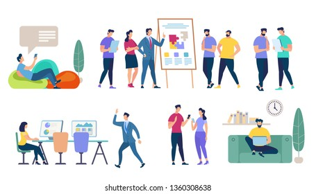 Characters Set Isolated on White Background. Business Seminar, Speaker Doing Presentation. Teamworking, Lounging Man, Girl Work on Computer, Comminicating People Cartoon Flat Vector Illustration.
