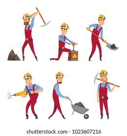 Characters set of miners. Cartoon characters miner worker, people professional occupation, vector illustration