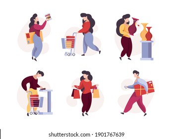 Characters shopping. Woman man buyers with product basket supermarket garish vector people