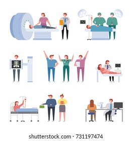 Characters showing various aspects of hospital vector illustration flat design