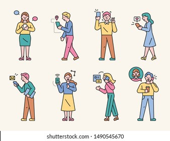 Characters showing various ways of using mobile phones. flat design style minimal vector illustration.