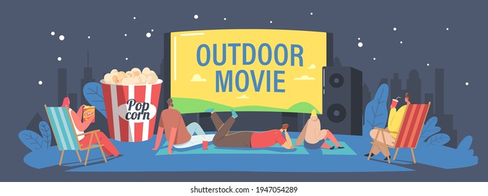 Characters Spend Night with Friends at Outdoor Movie Theater. People Watching Film on Big Screen with Sound System. Open Air Cinema at House Backyard or City Park Concept. Cartoon Vector Illustration - Shutterstock ID 1947054289