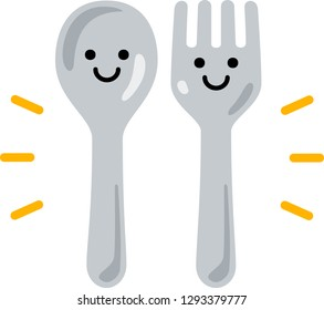 Characters of spoon and fork smiling