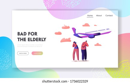 Characters Suffering of Noise Pollution Landing Page Template. Big City Stress, Dwellers Covering Ears to Stop Hearing Loud Sounds Made by Take Off Airplane. Cartoon People Vector Illustration