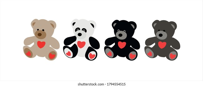 Characters teddy bears. Brown, grey, black, panda. Beautiful animal design elements. Funny illustration Valentine's Day toy on isolated white background