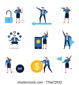 Characters that express various business vector illustration flat design
