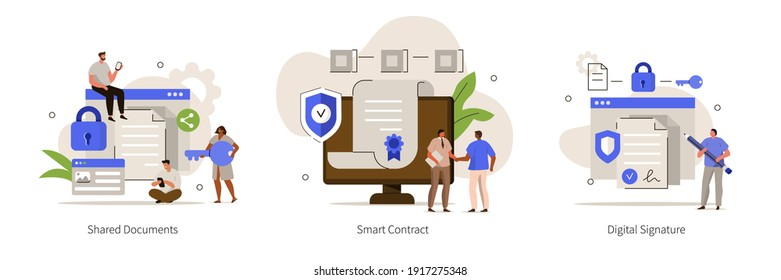 Characters using Cyber Security Services to Share Documents, Contracts and Protect Personal Data. Shared Document, Smart Contract and Cloud Shared Documents Concept. Flat Cartoon Vector Illustration.