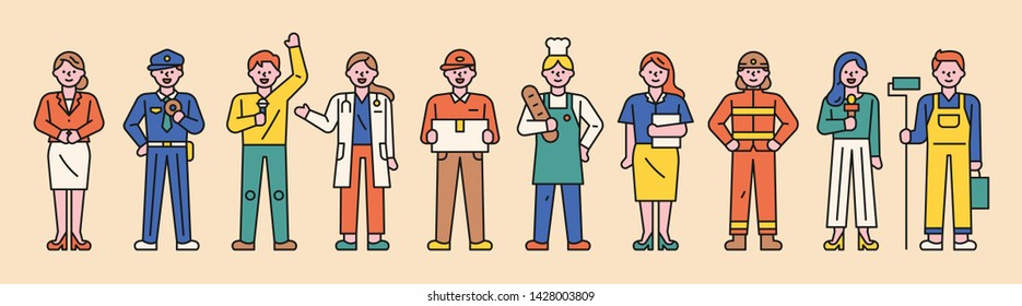 characters of various professions. flat design style minimal vector illustration