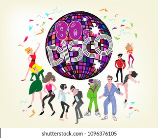 characters vector eighties fashion illustration disco flyer