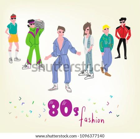 Characters Vector Eighties Fashion Illustration Men Stock Vector