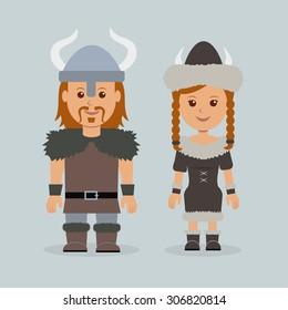 Characters vikings. Male and female in robes Scandinavian mariners.