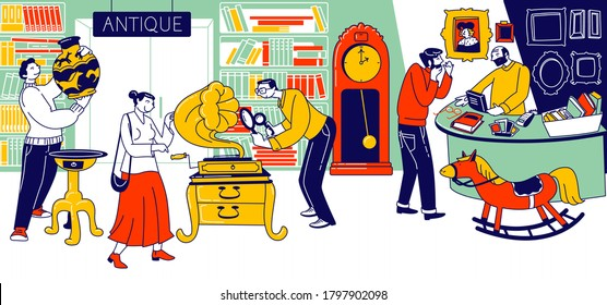 Characters Visiting Antique Store for Shopping Unique Rare Things. Garage Sale, Retro Bazaar with Seller Presenting Old Stuff for Buyers to Purchase, Flea Market. Linear People Vector Illustration