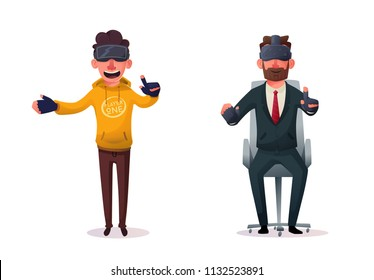 Characters wear virtual reality digital glasses. Cartoon Vector Illustration