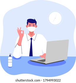 Characters Wearing Medical Masks Working on laptop in office or home during Covid19 Quarantine Self Isolation. Business People Freelancers Work on Pc. Cartoon Vector Illustration