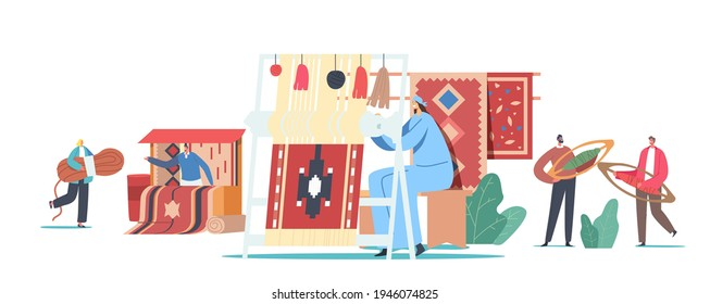 Characters Weaving Carpet on Handloom and Selling on Asian Bazaar. Traditional Oriental Art, Handmade Craft. Tiny People with Huge Equipment and Threads for Rugs. Cartoon People Vector Illustration