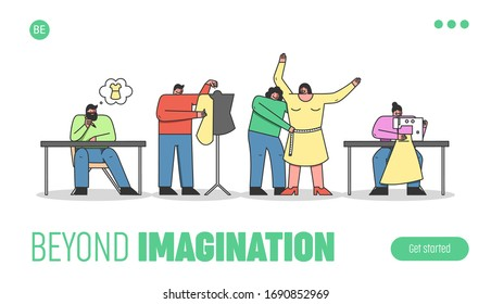 Characters Work In Fashion Atelier. Website Landing Page. Designers Make A Design Of Clothes, Measure Sizes, Sew Order On The Sewing Machine. Web Page Cartoon Linear Outline Flat Vector Illustration